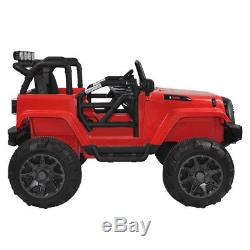 12V MP3 Kids Ride On Car Truck with Remote Control 3 Speed LED Lights Red Gift