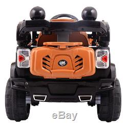 12V MP3 RC Battery Power Wheels Jeep Car Truck Kids Ride On With LED Lights Black