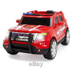 12V Ride On Firetruck with Remote Control, Megaphone, 2 Speeds, LED Lights (Red)