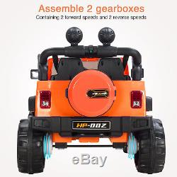 12V Ride On Jeep Car Powered with Remote Control, 4 Speed, LED Light, MP3 Orange
