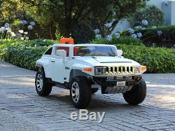 12V Ride On Kids Toy Car Truck Hummer HX with RC Parent Remote Control White