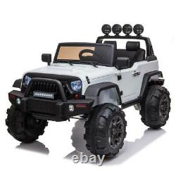12V White Electric Kids Ride on Car Truck Toys 3 Speeds MP3 LED withRemote Control