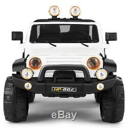 12V White Kids Ride on Car Truck Toys Electric 3 Speeds MP3 LED withRemote Control
