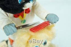 1950'S LINEMAR TIN BATTERY OPERATED BARBER BEAR WORKING With ORIGINAL BOX