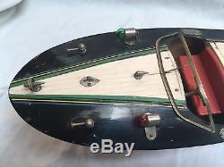 1950's Ito Style Japanese Wooden Speed Boat Tiger Graphics