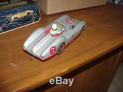 1950's Marusan Sans Mercedes Benz Racer Battry-op Tin Toy withBox Near Mint L@@K