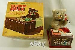 1950' s NIB, LINEMAR BATTERY OPERATED TIN LITHO TOY TELEPHONE BEAR ALL ORIGINAL
