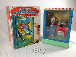 1950's W TOY CLOWN CANDY VENDING BATTERY OP MECHANICAL BANK WITH ORIGINAL BOX