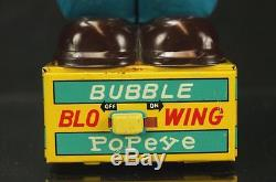 1950s LINEMAR BUBBLE BLOWING POPEYE BATTERY OPERATED TIN TOY + ORIGINAL BOX MARX