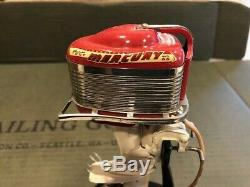 1957 K&O Mercury Mark 55 Red & Cream Toy Outboard Boat Motor withBox & Stand