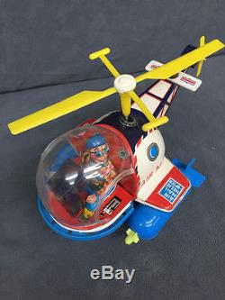 1960's Battery Operated AIR MAIL HELICOPTER Tin Toy Yoshiya KO Japan Box WORKS