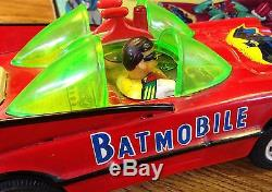1960s AOSHIN RED BATMAN & ROBIN TIN BATTERY OPERATED BATMOBILE withBOX WORKS