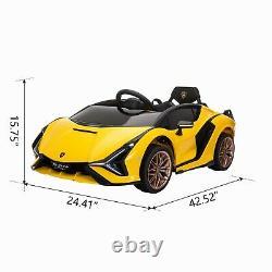 2021 TOBBI 12V Licensed Lamborghini Sian Yellow Kids Ride On Car Toy with Remote
