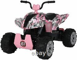24V Kids ATV Ride On Quad 4 Wheeler Battery Powered Electric ATV Camo Pink