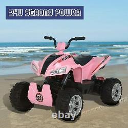 24V Kids Electric Ride On Car Quad ATV 4-Wheel Suspension Battery Powered Pink