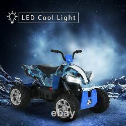 24V Kids Electric Ride On Car Quad ATV 4 Wheeler Battery Powered Camo Blue