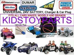 24V Volt Conversion Kit UPGRADE ALL 12V Cars/Trucks (Battery, Charger & Plug)