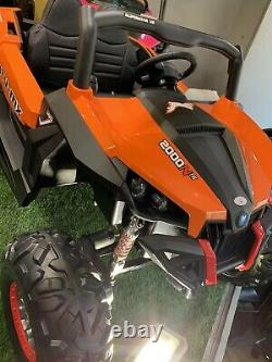 24v 2 Seat R/c Utv Kids Ride On Car Razor Metallic Orange Remote Rubber Leather