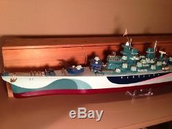 32 Ito Japanese Battery Operated Uss Missouri Wood Toy Boat For Sale