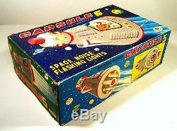 50'S/60'S TIN BOX BATTERY OP CAPSULE 5 ASTRONAUT ORIGINAL BOX TOP MASUDAYA JAPAN