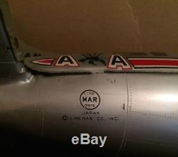 50's Line Mar Tin Battery Airplane American Airlines Rare Box Antique Toy Plane