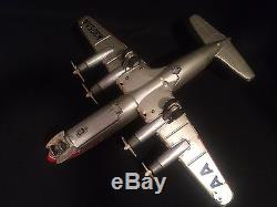 50's Line Mar Tin Battery Airplane Dc7 American Airlines Rare With Box Toy Plane