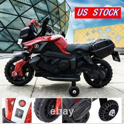 6V Battery Powered Red Kids Ride On Motorcycle 4 Wheel Bicycle Electric Toy Red