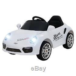 6V Electric Suspension Kids Ride On Car withMusic Remote Control LED Lights White