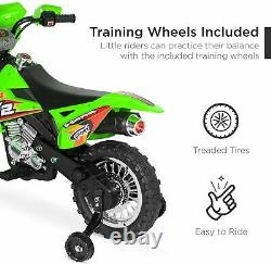 6V Kids Electric Battery Powered Ride-On Motorcycle Dirt Bike with Training Wheels