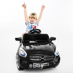 6V Kids Ride On Car RC Remote Control Battery Powered with LED Lights MP3 Black