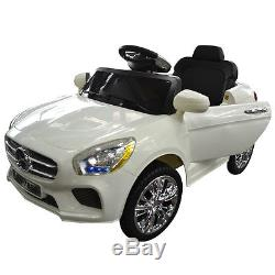 6V Kids Ride On Car RC Remote Control Battery Powered with LED Lights MP3 White