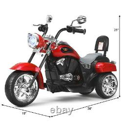 6V Kids Ride On Chopper Motorcycle 3 Wheel Trike with Headlight and Horn Red