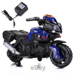 6V Kids Ride On Motorcycle Battery Powered Electric Toy WithTraining Wheels Blue