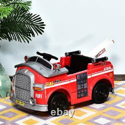 6v Kids Electric Ride On Fire Truck with Parental Remote Control and Music