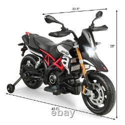 Aprilia Licensed 12V Kids Ride-On Motorcycle Motor Bike with Training Wheels Black