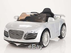 Audi R8 Style 12V Kids Ride On Car Battery Power Wheels Remote Control RC Silver