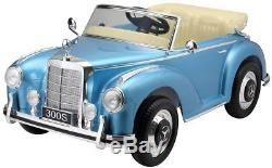 Authentic Mercedes 300S 12V Ride On Toy Car For Kids Remote Control MP3 Blue