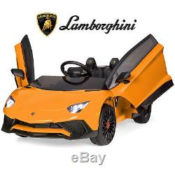 BCP 12V Kids Ride-On Lamborghini Aventador SV Car RC Toy with Horn, LED Lights
