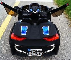 BMW i8 Style 12V Battery Powered Electric Ride On Toy Car RC Remote Matte Black