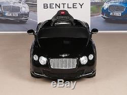 Bentley Kids Ride On Power Wheels Car RC Remote 12V Battery Glossy Black