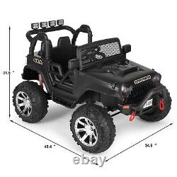 Black 12V Battery Kids Ride on Truck Car Toy Electric Jeep MP3 LED withRC Boy Girl
