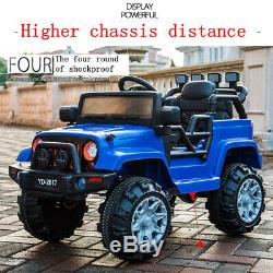 Blue 12V 3 Speed Kids Ride on Car Electric Battery Wheel Remote Control Jeep USA