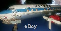 CRAGSTAN YONEZAWA DC-7C MAINLINER PLANE BATTERY OPERATED With ESCALATOR SUPER RARE