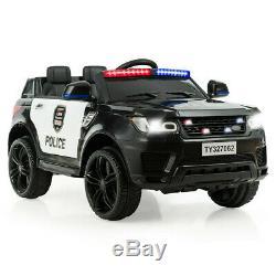 Carro Policia Electrico Para Niños Bateria Recargable 12V Sirena Sonidos Luces