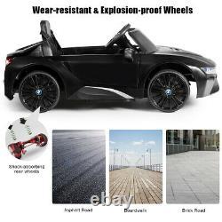 Costway 12V Licensed BMW I8 Kids Ride On Car with 2.4G Remote MP3 LED Lights Black