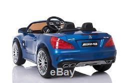Elecric Ride On Car Kids Licensed Mercedes SL65 Power 12V Wheels LED Screen Blue