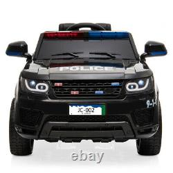 Electric 12V Kids Ride On Police SUV Car Remote Control LED Light Music Black