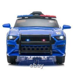Electric 12V Kids Ride On Police SUV Car Remote Control LED Light Music Blue