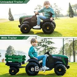Electric 12V Kids Ride On Tractor Car Farm Truck Music with Big Trailer GREEN