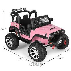 Electric 12V Kids Ride on Truck Car Toy Jeep Spring Suspension MP3 LED withRC Pink